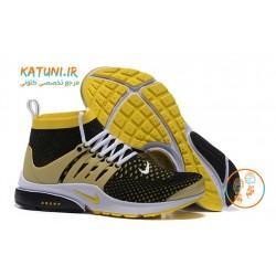 کفش کتانی ساقدار نایک پرستو زیپ دار مشکی مردانه جدید کتونی زرد رنگ
